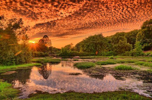Фото бесплатно закат, пруд, озеро
