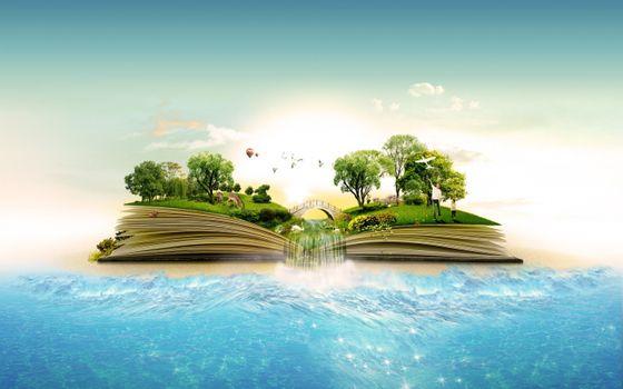 Заставки artistiv,birds,books,forest,islands,jungle,landscapes,manipulation,nature,ocean,sea,surreal