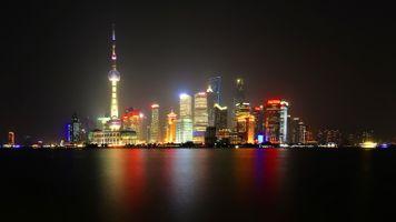 Заставки ночь, Шанхай, фонари