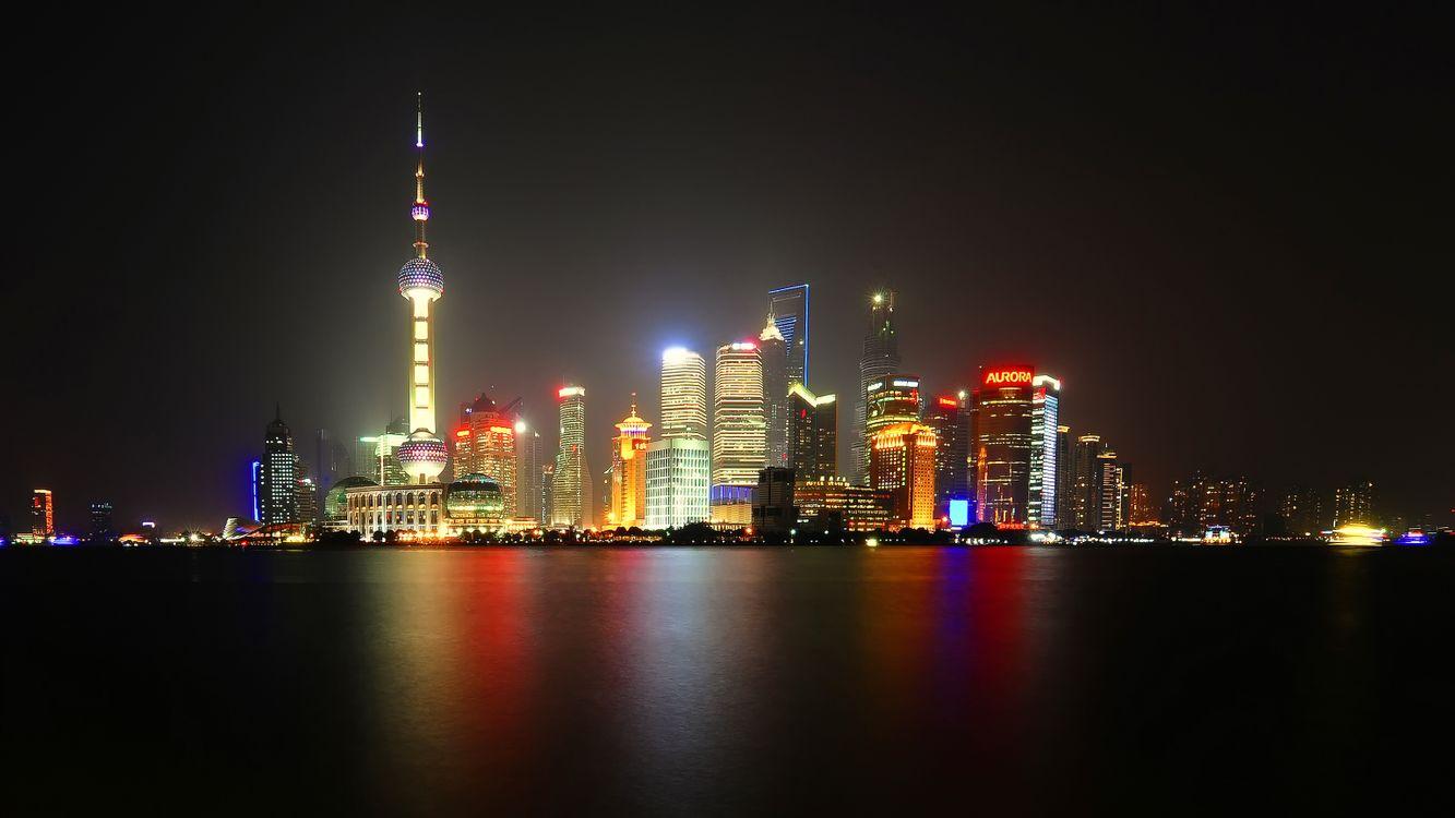 Фото бесплатно ночь, Шанхай, фонари - на рабочий стол