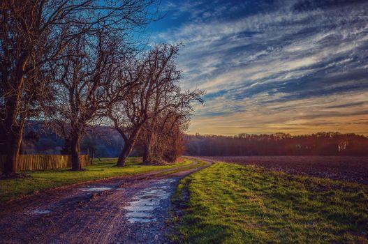 Photo free landscape, plowed field, sunset