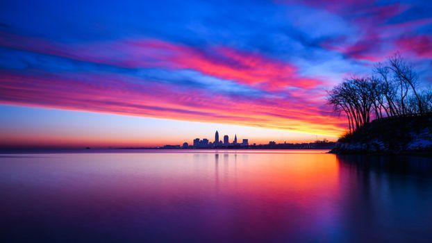 Фото бесплатно городской пейзаж, небоскребы, закат