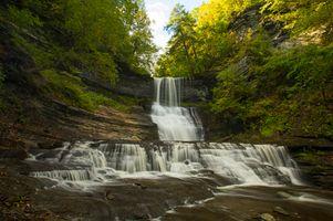 Фото бесплатно скалы, ручей, водопад