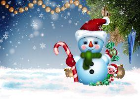 Фото бесплатно снеговик и свинка, свинка символ года, Рождество
