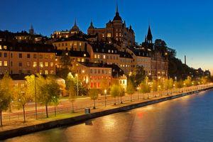 Бесплатные фото Стокгольм,Швеция,город,ночь,фонари,иллюминация,ночной город