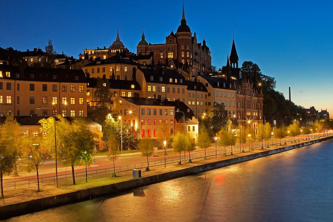 Photos for free night city, illuminated, Sweden - to the desktop