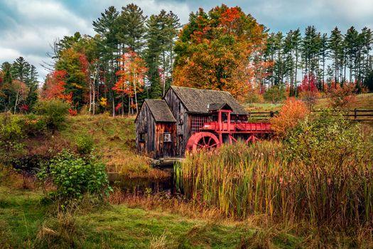 Фото бесплатно осень, водяная мельница, речка