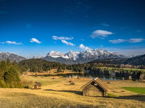 Заставки Озеро Герольдзее,Германия,Geroldsee,Южный Тироль,Альпы,Гармиш,Партенкирхен,сельская местность,Bavaria,Бавария,пейзаж