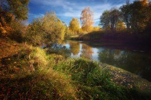 Фото бесплатно цвета осени, деревья, река