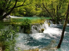 Фото бесплатно Плитвицкие озера, Национальный парк Плитвицкие озера, Plitvice Lakes national park, Croatia, Хорватия, водопад, пейзаж, река, лес, деревья