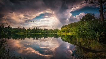 Фото бесплатно закат, озеро, отражение