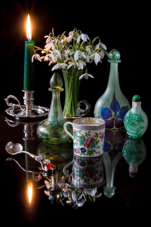Фото бесплатно чайная чашка, свеча, натюрморт - на рабочий стол