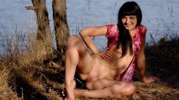 Бесплатные фото Шерри Лоусон,брюнетка,голая,бритая киска,половые губы,киска,грудь