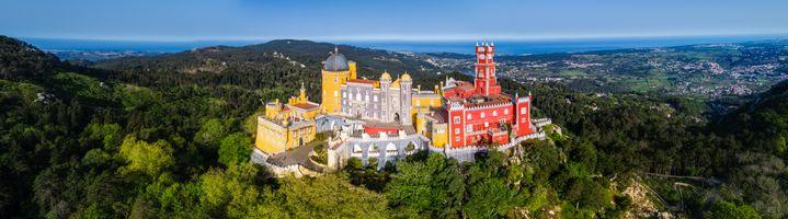 Фото бесплатно Pena Palace Pano, Дворец Пена - Синтра, Португалия