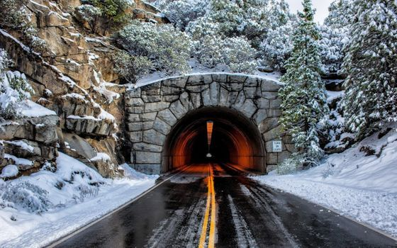 Photo free tunnel, road, winter