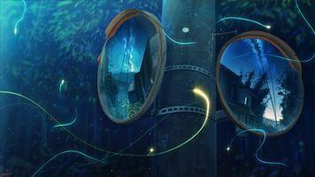 Фото бесплатно аниме пейзаж, зеркало, отражение