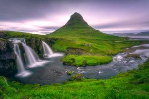 Фото бесплатно водопад, горы, Kirkjufell