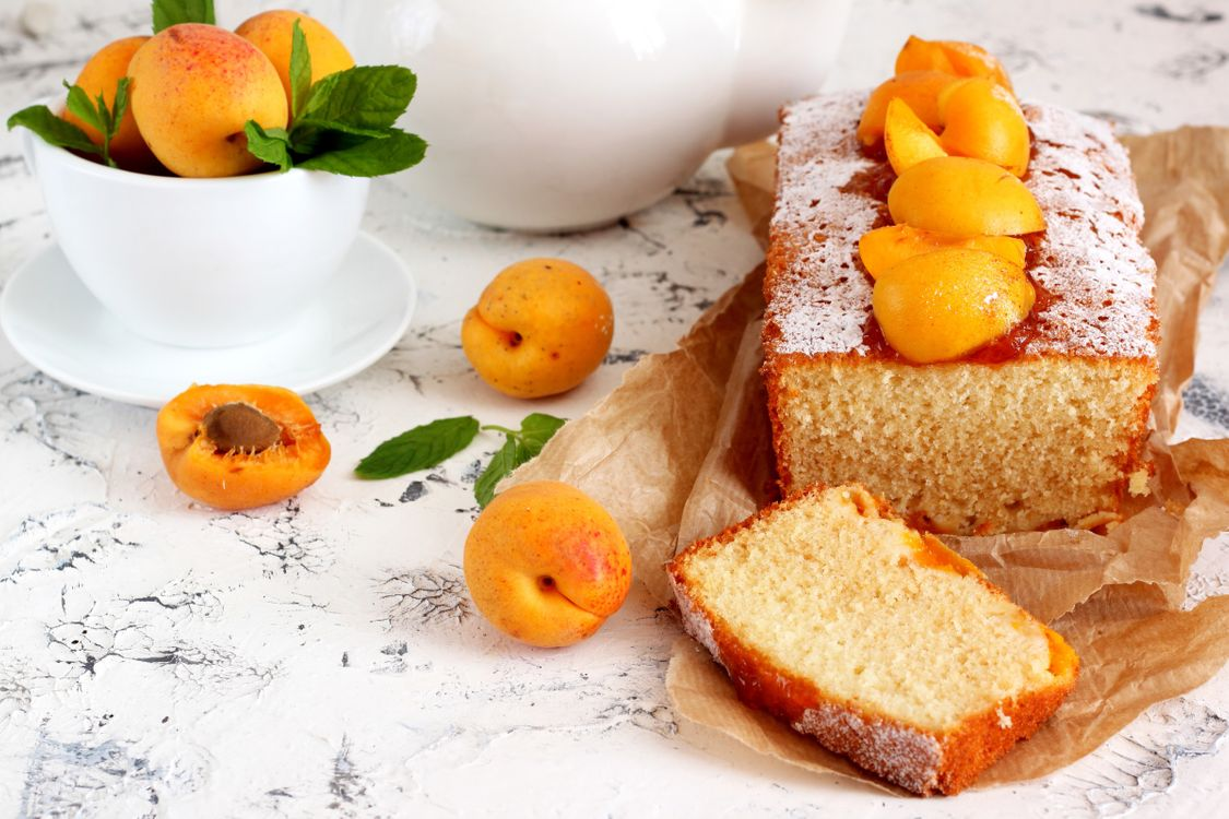 Фото бесплатно выпечка, кекс, сахарная пудра, абрикосы, еда