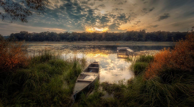 Фото бесплатно заводь, закат, река - на рабочий стол