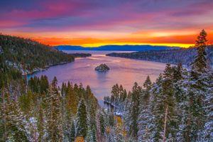Фото бесплатно закат, деревья, озеро Тахо