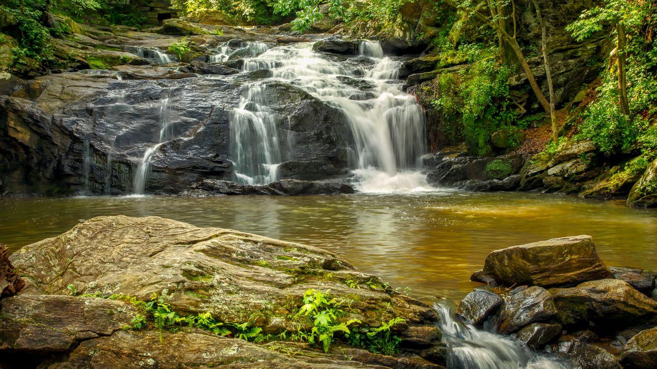 Обои The Falls, Cochran Mill Park, водопад картинки на телефон