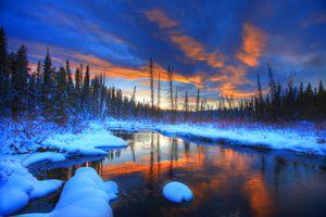 Заставки зима, закат, река
