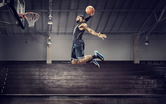 Фото бесплатно баскетбол, Джеймс, Леброн, НБА, Найк, мяч, корзина