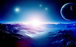 Фото бесплатно галактика, поверхность планеты, спутники