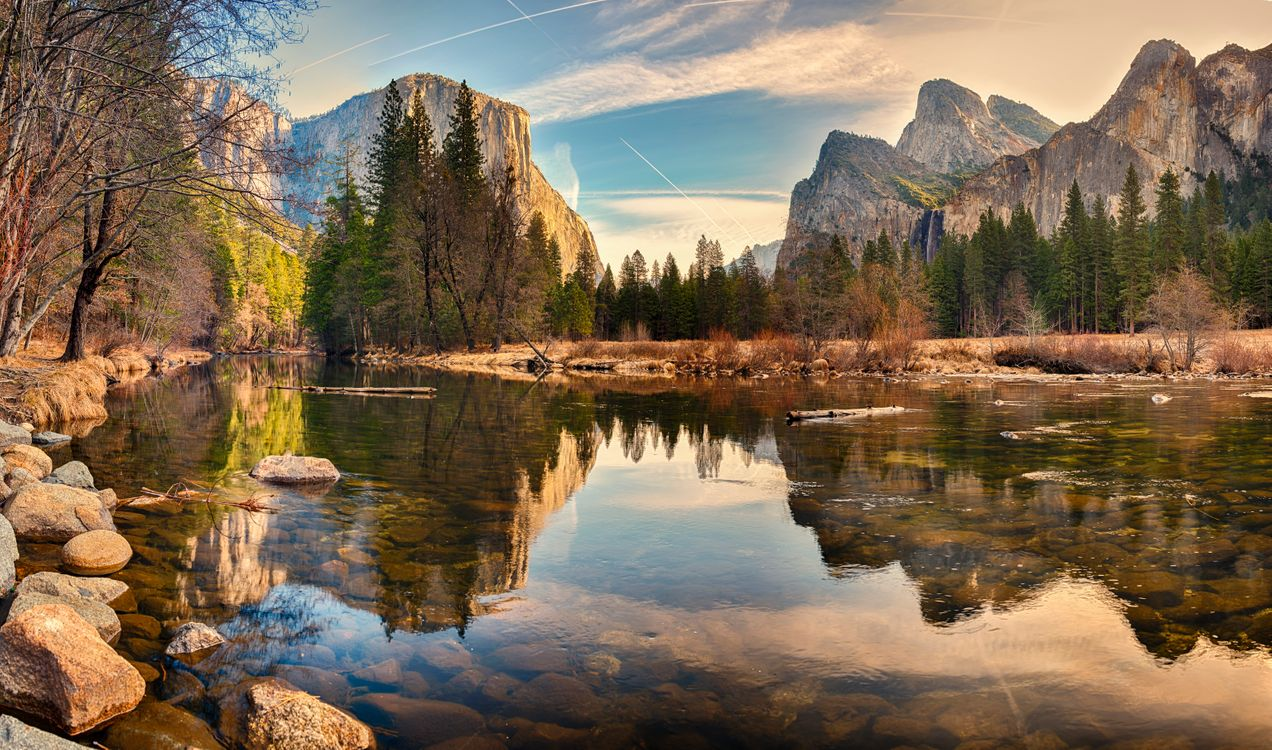 Фото бесплатно Йосемити национальный парк, закат, река - на рабочий стол