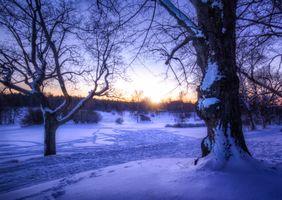 Фото бесплатно снег, сугробы, закат