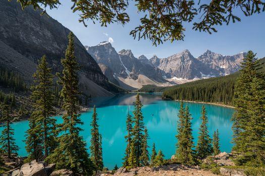 Фото бесплатно Озеро Моренные, пейзаж, Альберта