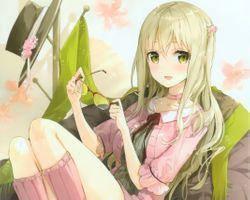 Фото бесплатно аниме девушка, блондинка, улыбается