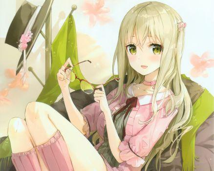 Photo free anime girl, blonde, smiling
