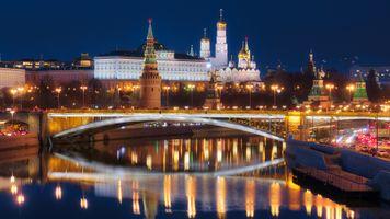 Заставки Москва,Кремль вид с реки,Россия,ночь,Москва-река,Московский Кремль,город