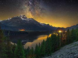 Фото бесплатно свечение, озеро Силс, огни