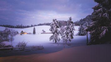 Бесплатные фото зима,сельская местность,холмы,снег,деревья,сугробы,домик