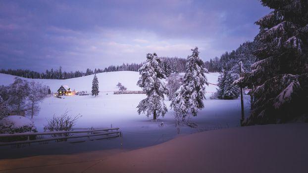 Бесплатные фото зима,сельская местность,холмы,снег,деревья,сугробы,домик,пейзаж