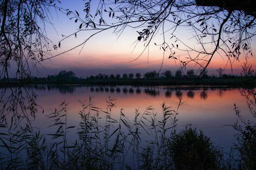 Фото бесплатно сумерки, закат, отражение