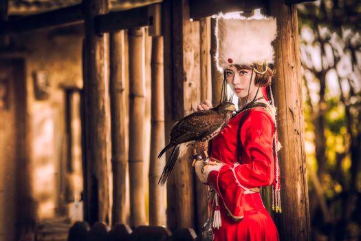 девушка и птица · бесплатное фото