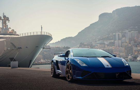 Фото бесплатно Lamborghini, синий, полоса