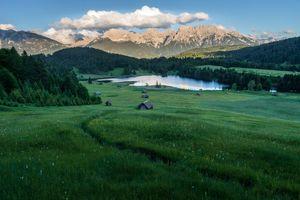 Заставки Озеро Герольдзее,Германия,Geroldsee,Южный Тироль,Альпы,Гармиш,Партенкирхен
