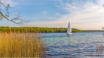 Бесплатные фото озеро,парусник,лодка,волны,лес,растения,пейзаж