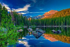 Заставки Rocky Mountain National Park,Bear Lake,закат,озеро,лес,деревья,камни