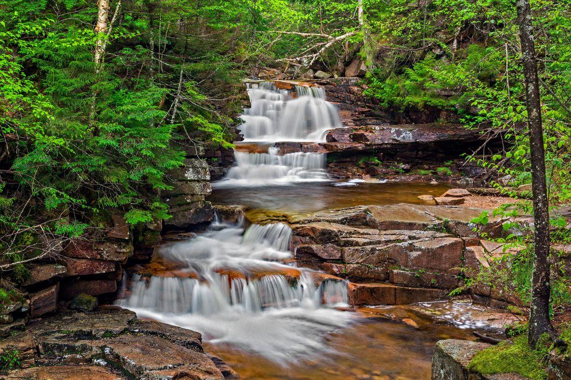 Фото бесплатно водопад, лес, скалы, течение, водоём, природа, пейзаж, пейзажи