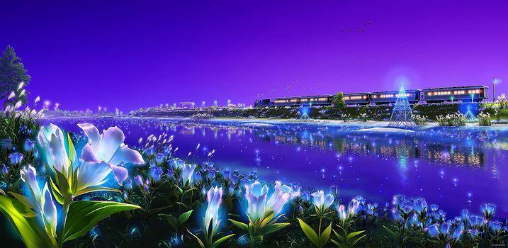 Фото бесплатно животные, птицы, цветы, трава, Кагая, пейзаж, оригинальный, пурпурный, живописные, небо, поезд, вода