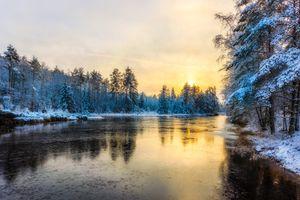 Заставки Глазкогенский заповедник,Arvika,Швеция,река,зима,лес,закат