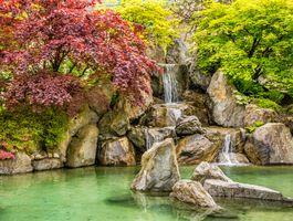 Заставки парк, осень, водопад