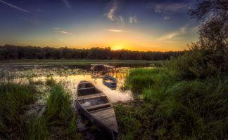 Бесплатные фото закат,река,лодка,лес,деревья природа,пейзаж