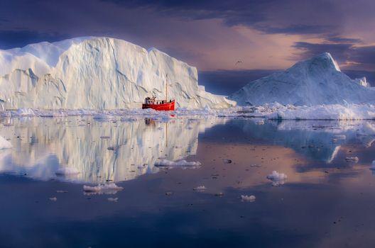 Фото бесплатно Гренландия, Айсберги, лодка