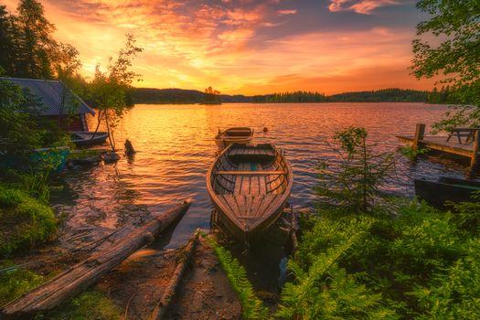 Заставки лодка, пейзаж, природа